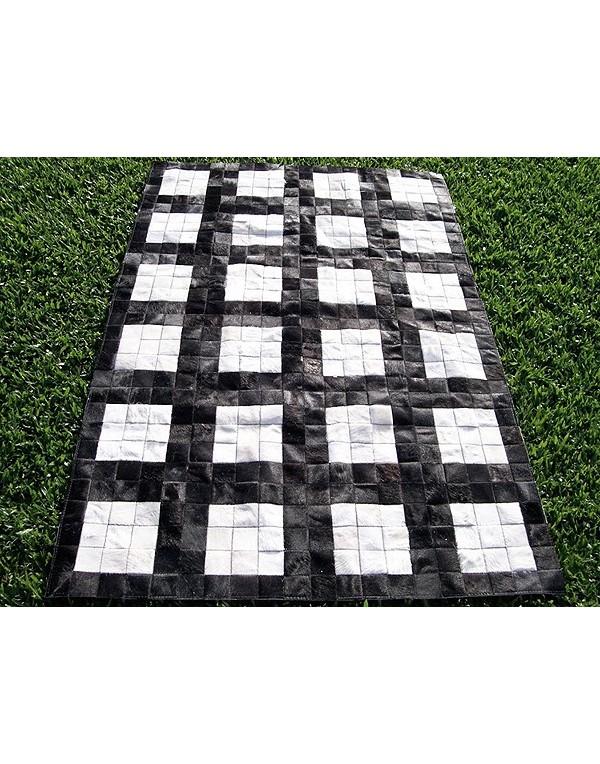 Black White Grid Cowhide Patchwork Rug X021