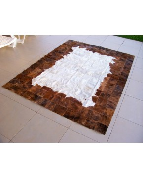 Brown White Patchwork Cowhide Rug X005