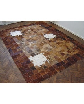 Patchwork Cowhide Rug White Highlights PCRX035