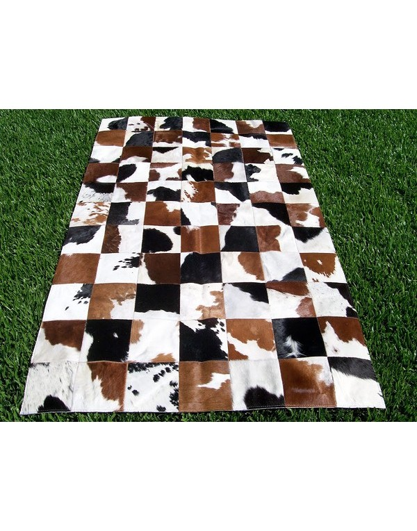 Black Brown and White Patchwork Cowhide Rug X024
