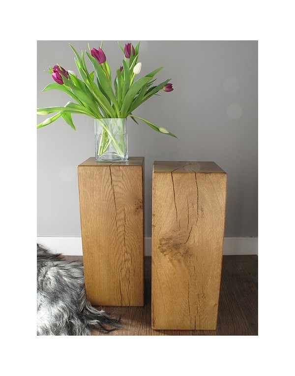 Solid medium oak block side or lamp tables oak side tables medium mozeypictures Choice Image