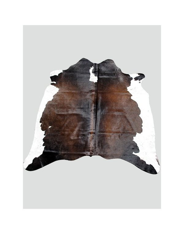 Dark Brown & White Cowhide Rug CH0011