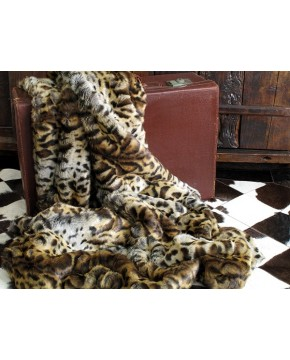 Faux Fur Throw Gold Jaguar 150 x 100