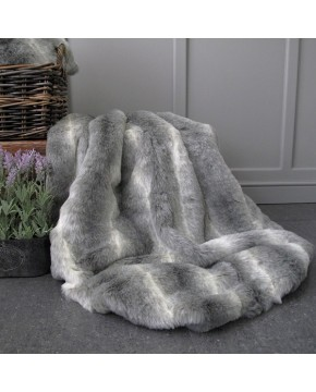 Lemur Striped Faux Fur Throw