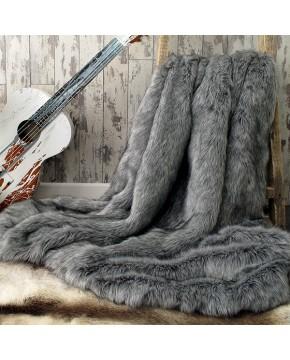 Faux Fur Throws, Grey Squirrel Faux Fur Throw , faux-fur-throws
