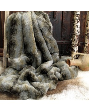 Grey Wolf Fur Throw