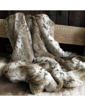 Beige Lynx Fur Throw