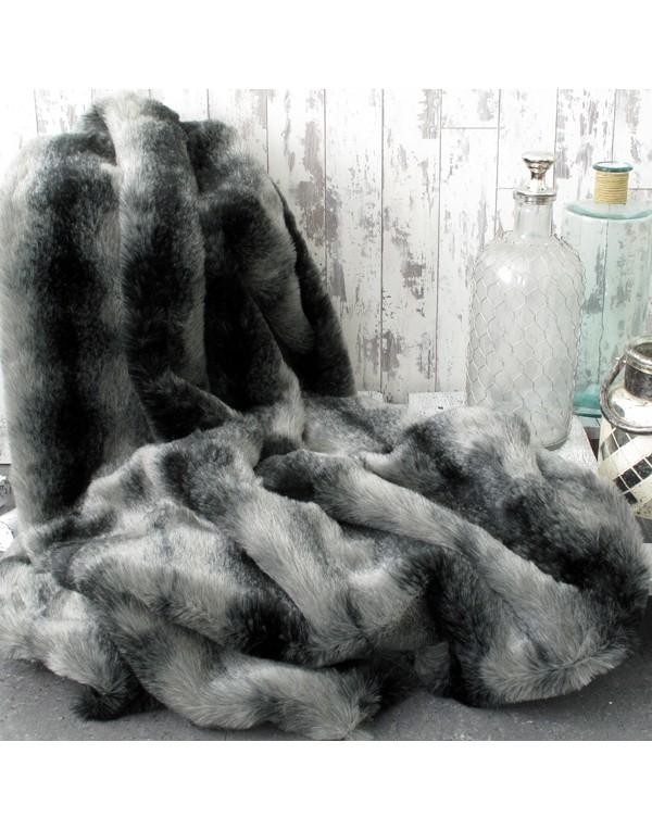 Faux Fur Throws, Black Wolf Faux Fur Throw , faux-fur-throws